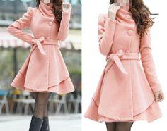 Women's Pink Color Princess style cape dress Coat jacket with belt Apring autumn winter coat Spring jacket cute coat   S,M,L,XL,XXL op Etsy, 52,25€