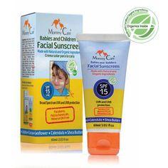 Mommy Care_Protector Solar Facial SPF15 para proteger la delicada piel de bebés y niños desde el nacimiento.     Elaborada con ingredientes orgánicos certificados.     Contiene filtros físicos.     Alta protección contra los rayos UVB y UVA.     SIN parabenos, aceites minerales o sintéticos.     SIN nanopartículas, lo que hace de esta crema un protector totalmente seguro.     Rico en ingredientes que nutren la piel como jojoba, manzanilla, caléndula y manteca de karité.