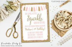 She Leaves A Little Sparkle Wherever She Goes First Birthday One Year DIY Printable Invitation digital file by PrintablePartyCo