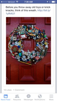 DIY: Bits Pieces Wreath - great way to use those favorite old toys! This would make an awesome gift to the person whose toys were used in the wreath. Bonus Room Decorating, Boho Room, Fall Wreaths, Old Toys, Beautiful Bedrooms, 4th Of July Wreath, Reuse, Boho Decor, Best Gifts