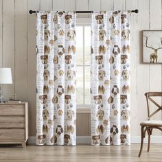 Decorate your windows with the Dog Kiss curtains from Aubrie Home Accents. They feature a cute pattern of dogs, paw prints and pet themed sayings. This 2-panel set of lined curtains add privacy to any bedroom, living room or den without sacrificing natural light. Each panel measures 84-inches by 38-inches for a total width of 76-inches. For easy care, these window curtains are machine washable. Lined Curtains, Window Curtains, Dog Kiss, Animal Room, Curtain Sets, Paw Prints, Cute Pattern, Home Accents, Window Treatments