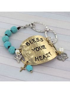 Two-Tone 'Bless Your Heart Turquoise Bead & Chain Hook Bracelet