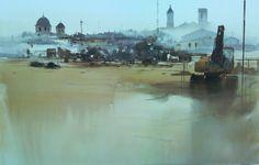 Manolo Jiménez Primer premio Requena 2014 120x82cm Watercolor Water, Watercolor Artists, Watercolor Landscape, Artist Painting, Watercolour Paintings, Van Gogh, Art Timeline, Environment Design, Urban Landscape