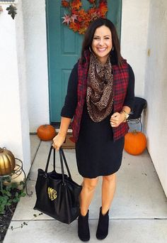 Fall style, teacher outfit, ootd inspiration. LBD, long sleeve black dress, red black plaid puffer vest, leopard scarf, black booties.