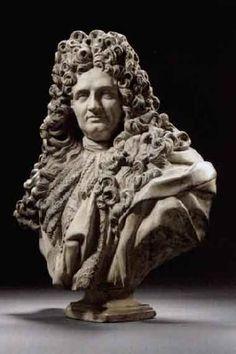 After Jean Louis Lemoyne (French, 1665 - 1755) - Bust of Jules Hardouin-Mansart.