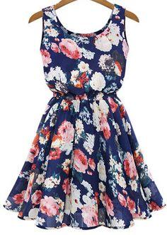 Shop Blue Sleeveless Floral Pleated Chiffon Dress online. Sheinside offers Blue Sleeveless Floral Pleated Chiffon Dress & more to fit your fashionable needs. Free Shipping Worldwide!