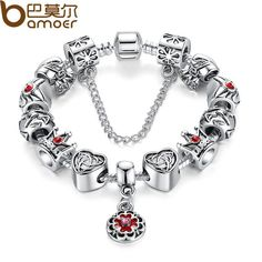 Vintage Heart Crown Bead Charm Bracelet Silver 925 for Women Original Safety Chain Jewelry PA1430 $7.36   => Save up to 60% and Free Shipping => Order Now! #fashion #woman #shop #diy  http://www.rodjewelry.com/product/vintage-heart-crown-bead-charm-bracelet-silver-925-for-women-original-safety-chain-jewelry-pa1430/