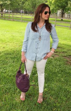 Summer Outfit - LIght Chambray shirt and White Denim with wedges   Lady in Violet