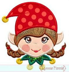 Elf Face Girl Applique - 4 Sizes! | Christmas | Machine Embroidery Designs | SWAKembroidery.com Lynnie Pinnie