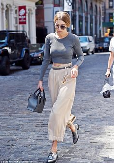 She can make anything look good! The star wore beige culottes and metallic grey brogues...