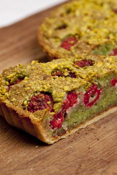 Pistachio and raspberry Bakewell tart. James Mackenzie puts a spin on the classic Bakewell tart with the addition of pistachio and zingy fresh raspberries Bakewell Tart, Tart Recipes, Sweet Recipes, Cooking Recipes, Sweet Pie, Sweet Tarts, Great British Chefs, Sweet Pastries, Quiches