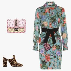 Gucci Blooms printed silk dress, $2,138, bysymphony.com; Dorateymur Munise leopard-print calf-hair mules, $340, net-a-porter.com; Valentino Garavani leather Lock bag with embroidery, $2,835, lindelepalais.com