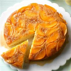 Makeover Peach Upside-Down Cake Recipe -Our kitchen crew used a little less sugar, brown sugar and butter, then added buttermilk to replace some of the moisture in this classic dessert remake.—Taste of Home Test Kitchen, Greendale, Wisconsin Peach Upside Down Cake, Pineapple Upside Down Cake, Fruit Recipes, Dessert Recipes, Cooking Recipes, Peach Cake Recipes, Recipies, Pie Recipes, Dessert Ideas