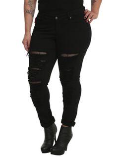 Tripp Black Distressed Denim Jeans Plus Size