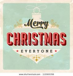 Vintage Christmas Card - Vector Eps10. Grunge Effects Can Be Easily Removed For A Brand New, Clean Sign. - 115565356 : Shutterstock