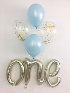 Blue and Gold First Birthday One Balloons One Script Balloon Light Blue and Gold Balloons Royal Prince Boy First Birthday Blue and Gold