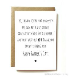 Step Father's Day card for step dad like a by SpellingBeeCards