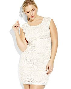 Graduation?? CONNECTED APPAREL Ivory & Nude Crochet Sheath Dress