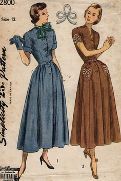 Vintage 1940s Simplicity sewing pattern 2800- Misses' One-piece dress with transfer for embroidery size 12 for bust size 30