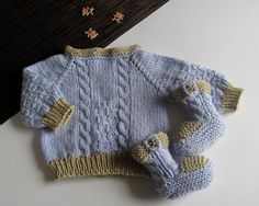 Knitted baby sweater blue baby boys sweater / size por MiaPiccina