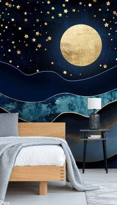 If you love to embrace dark interiors, this Golden Moon mural is the navy wallpaper to have! Embrace the gold tones with a gold lamp, gold handles and more. Perfect for a dreamy bedroom, a baby's calm nursery or a unique lounge feature wall, choose this dark blue wallpaper and completely change your home's interior design. #bluewallpaper #bluewallmural #designerwallpaper Dark Blue Wallpaper, Gold Wallpaper, Blue Wallpapers, Baby Calm, Gold Rooms, Dark Interiors, Room Accessories, Blue Walls, Designer Wallpaper