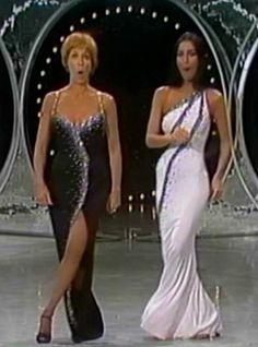 Carol Burnett and Cher in Bob Mackie