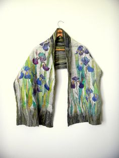 Felted silk scarf.Reversibledouble sided silk by Allatai on Etsy