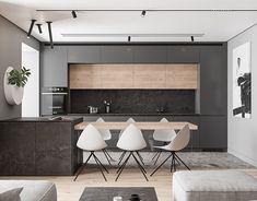 Traffic grey on Behance Minimal Kitchen Design, Kitchen Room Design, Home Room Design, Kitchen Cabinet Design, Home Decor Kitchen, Interior Design Kitchen, Kitchen Furniture, Home Kitchens, Interior Pastel