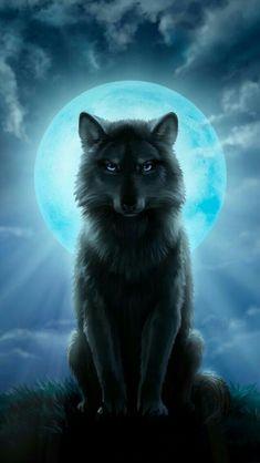 Wolf under a full moon - Wolf under a full moon - Fantasy Wesen, Fantasy Wolf, Anime Wolf, Fantasy Creatures, Mythical Creatures, Wolf Spirit Animal, Wolf Artwork, Wolf Wallpaper, Black Wallpaper