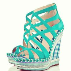 Louboutin wedges #shoes #turquoise