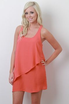 casual peach springtime dress