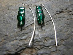 Stacked Emerald Green Glass Beads on Sterling by Blackberrygardens, $19.00