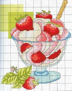 Cross stitch - Ice cream with strawberries