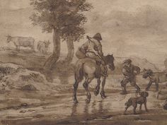 "OSTADE (van) Isaac,1644-49 - Paysage avec Voyageurs (drawing, dessin, disegno-Custodia) - Detail -b - TAGS/ details détail détails detalles ""dessins 17e"" ""17th-century drawings"" ""dessins hollandais"" ""Dutch drawings"" ""Dutch painters"" ""peintres hollandais"" Paris France Holland Hollande animal animaux animals man men hommes paysan dog pet chien Isaack tree trees nature arbres chevaux cheval horse traveller ox boeufs boeuf oxes agriculture countryside campagne landscape Isaack road chemin camino"
