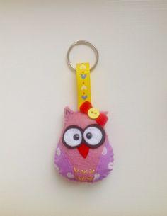 Felt owl keyring/ keychain/ bag charm Handmade soft by joojoocraft, Felt Keyring, Owl Keychain, Owl Fabric, Fabric Toys, Owl Crafts, Penny Rugs, Key Fobs, Couture, Wool Felt