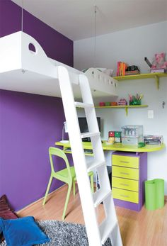 Suspended bed, Eggplant Purple accent wall, Vibrant Lime Green desk