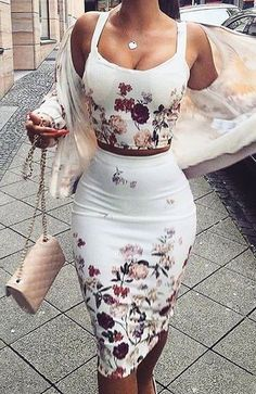 white bodycon dress with floral
