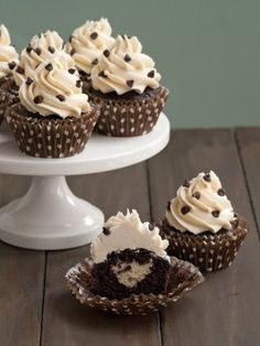 dark chocolate cupcakes with chocolate chip cookie dough frosting!