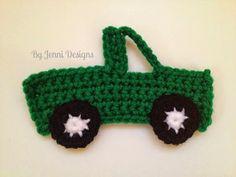 Crochet Toys For Boys By Jenni Designs: Free Crochet Pattern: Pick-Up Truck Applique Crochet Car, Crochet Amigurumi, Crochet For Boys, Cute Crochet, Crochet Crafts, Crochet Dolls, Crochet Projects, Ravelry Crochet, Appliques Au Crochet
