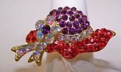Red Hat Shaped ADJUSTABLE RING RED & PURPLE CRYSTAL gold tone for SOCIETY LADIES