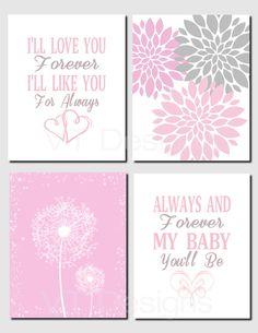 Pink Gray Nursery, Baby Girl Nursery Decor, Peonies, Dandelion Wall Art, Toddler Girl, I'll Love You Forever, Printable,Set of 4 by VTDesignsPrintables on Etsy