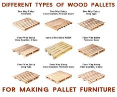 Different types of wood pallets for making pallet furniture.
