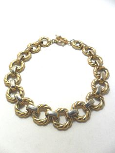 Vintage Necklace / Collar / Choker Gold Tone Metal by KathiJanes, $21.95