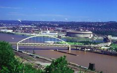 Ft. Pitt Br., 3 Rivers Stadium, and Barge, from Mt. Washington, Summer 1974