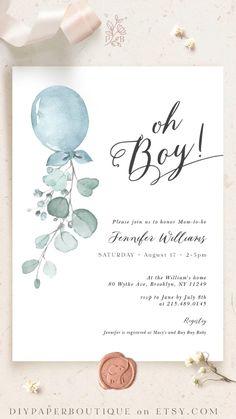 Edit /& Print Yourself Digital Air balloon Diaper Raffle Books for baby Animals Printable Baby Shower Invitation Template Set PDF DIY
