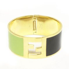 Fendi Medium Cuff Green and Black Gold Metal Bracelet - http://designerjewelrygalleria.com/fendi/fendi-medium-cuff-green-and-black-gold-metal-bracelet/