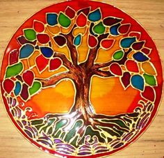 Arbol de la Vida----------------------------Abrazo a Gaia Flor de Gaia----------------------------Mandala Ascension Stained Glass Paint, Stained Glass Projects, Stained Glass Patterns, Mosaic Patterns, Glass Painting Designs, Paint Designs, Tree Of Life Art, Tree Art, Mandala Painting