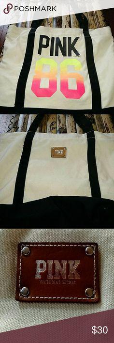 PINK Victoria Secret bag Large canvas bag. EUC PINK Victoria's Secret Bags Totes