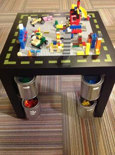 38 ideas lego storage ideas diy fit for 2019 Lego Table, Diy Table, Lego Duplo, Legos, Ikea Lack Side Table, Lego Storage, Diy Storage, Storage Ideas, Tape Storage