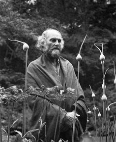 Morris Graves in his leek garden, 1973, by Imogen Cunningham